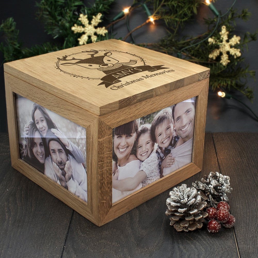 Personalised Large Oak Photo Keepsake Box - Christmas Woodland Reindeer - Personalised Gift Solutions - 6