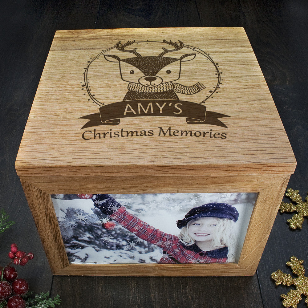 Personalised Large Oak Photo Keepsake Box - Christmas Woodland Reindeer - Personalised Gift Solutions - 4