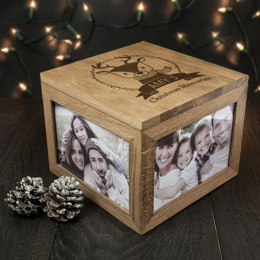 Personalised Large Oak Photo Keepsake Box - Christmas Woodland Reindeer - Personalised Gift Solutions - 3