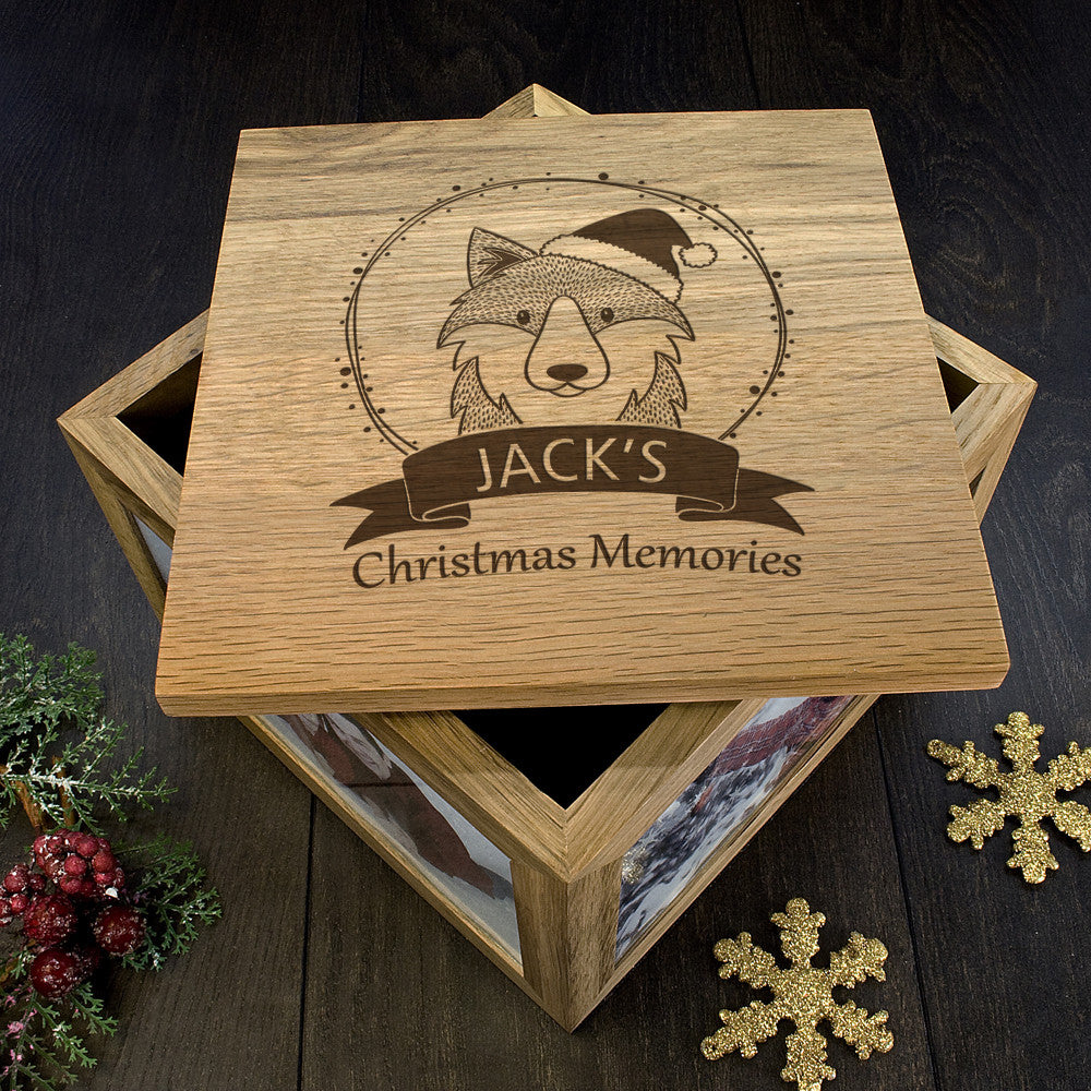 Personalised Large Oak Photo Keepsake Box - Christmas Woodland Wolf - Personalised Gift Solutions - 5