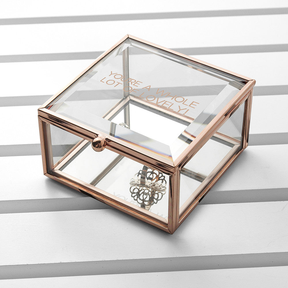 Personalised Glass Trinket Box - Rose Gold