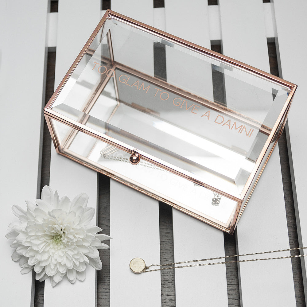 Personalised Glass Jewellery Box - Rose Gold