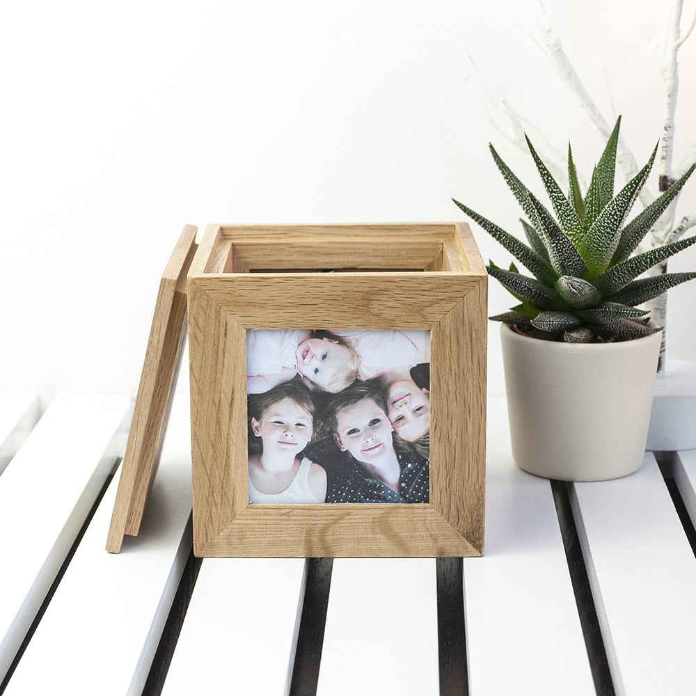 Personalised Memory Box - Small Wooden Photo Cube For Mother's Day