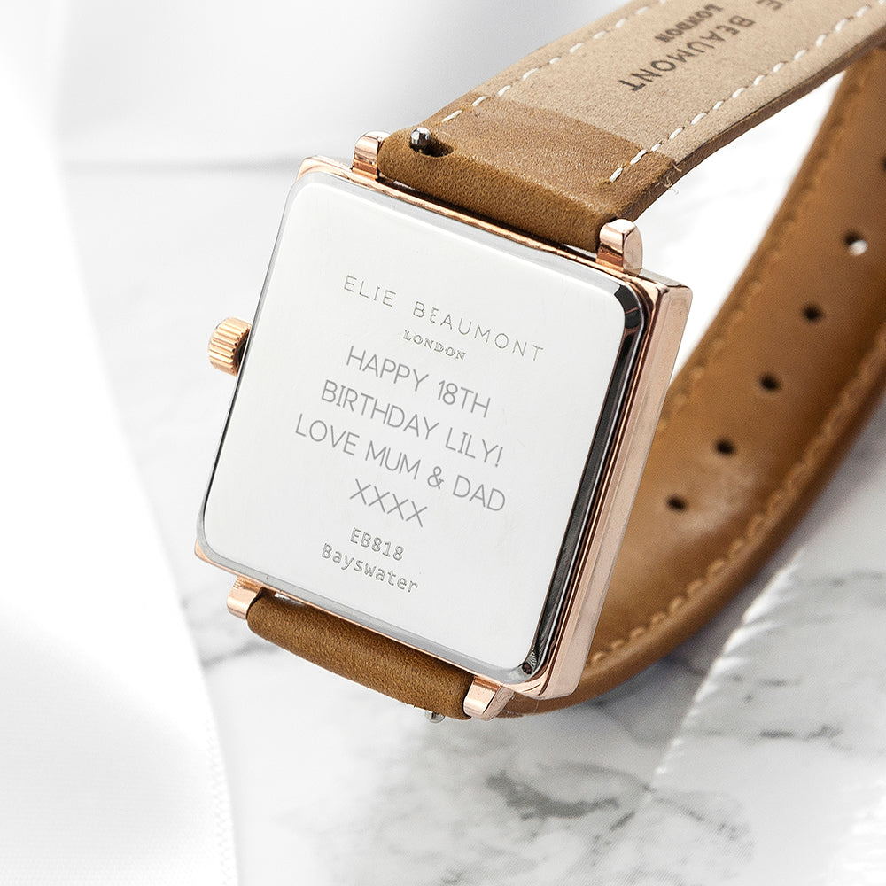 Personalised Ladies Watch - Elegant Square Face with Tan Leather Strap