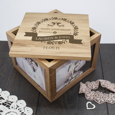 Personalised Large Oak Photo Keepsake Box For Couples - Love Birds Design