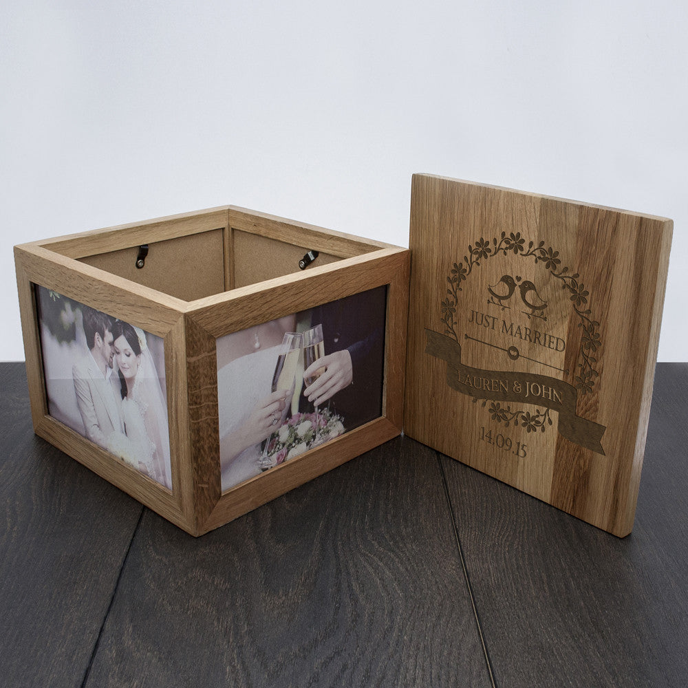 Personalised Large Oak Photo Keepsake Box For Couples - Love Birds Design - Personalised Gift Solutions - 7