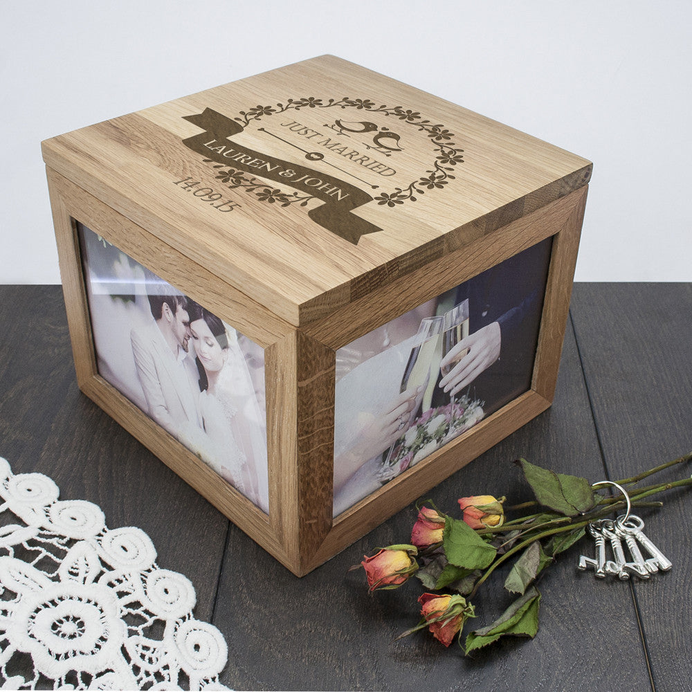 Personalised Large Oak Photo Keepsake Box For Couples - Love Birds Design - Personalised Gift Solutions - 4