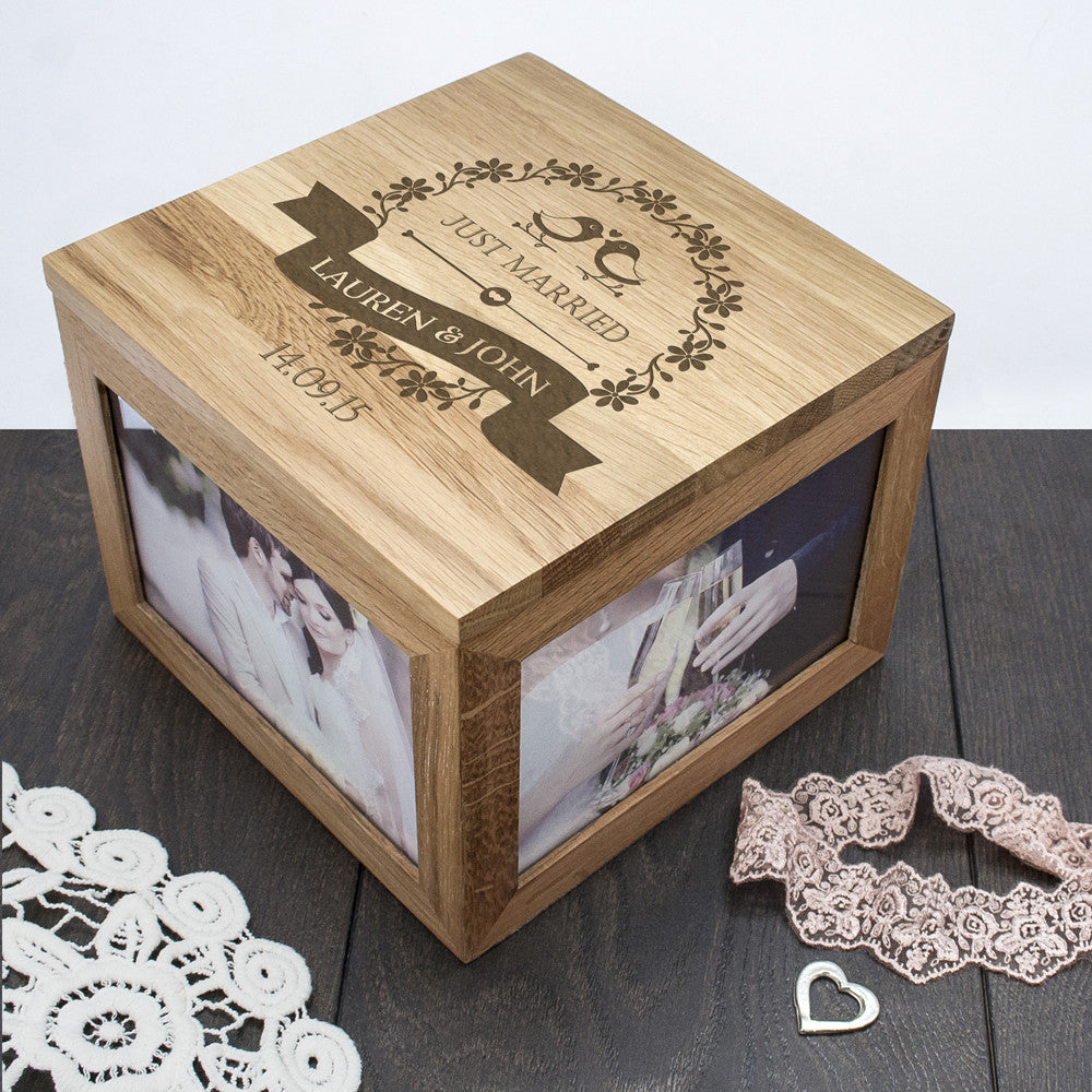 Personalised Large Oak Photo Keepsake Box For Couples - Love Birds Design - Personalised Gift Solutions - 5