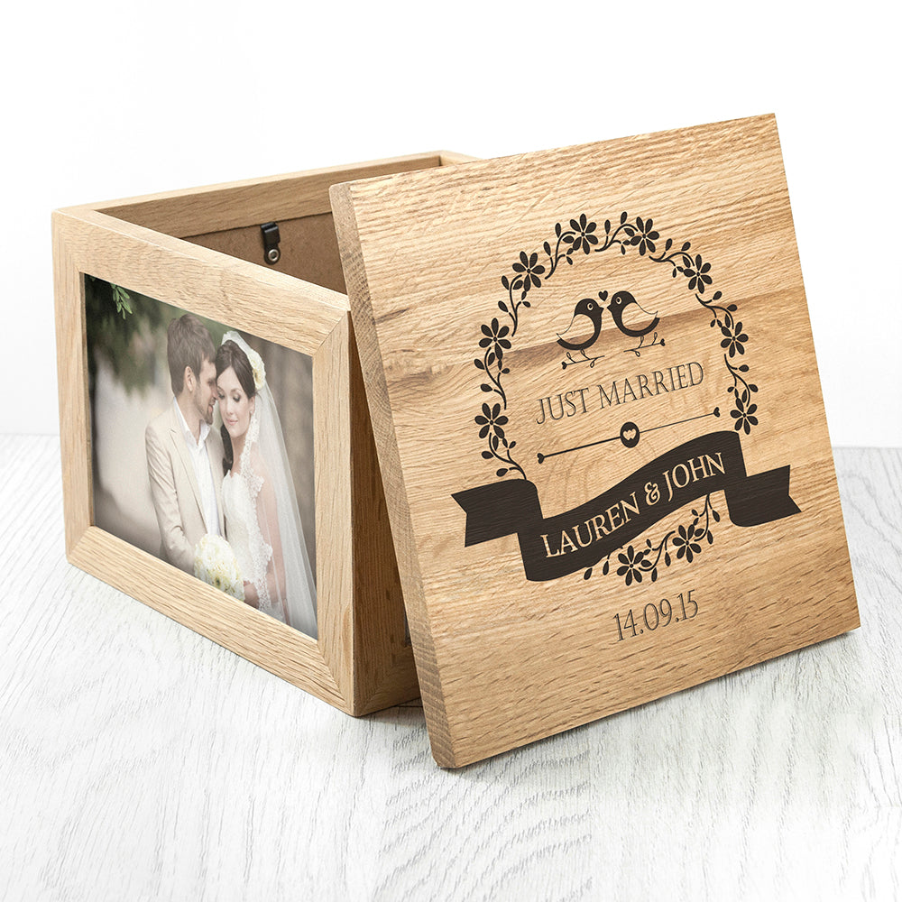 Personalised Memory Box - Large Wooden For Couples - Love Birds