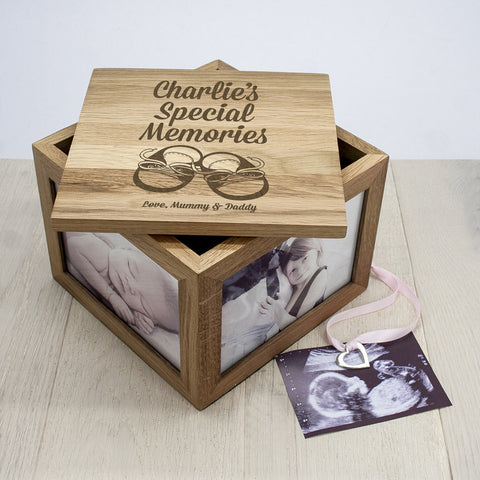 Personalised Large Oak Photo Keepsake Box - Baby Shoes Design