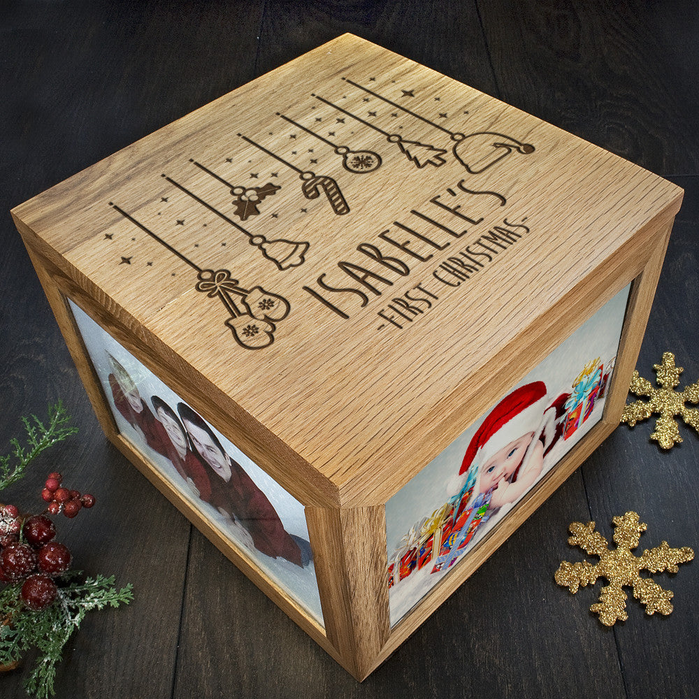 Personalised Large Oak Photo Keepsake Box - Baby's First Christmas Design - Personalised Gift Solutions - 2