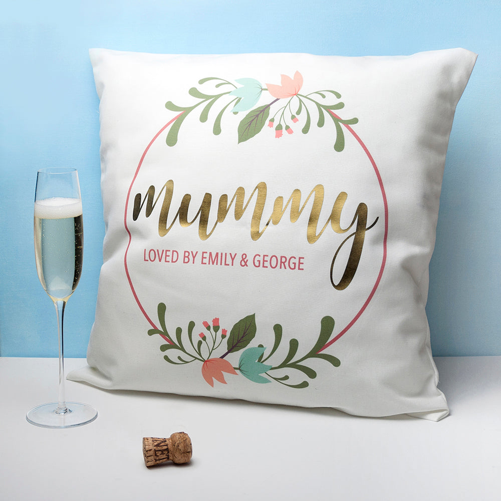 Personalised Mummy Cushion Cover - Floral Wreath