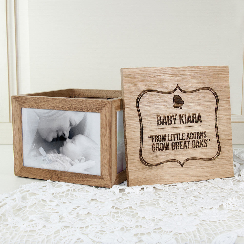 Personalised Large Oak Photo Keepsake Box - Little Acorns Design - Personalised Gift Solutions - 1