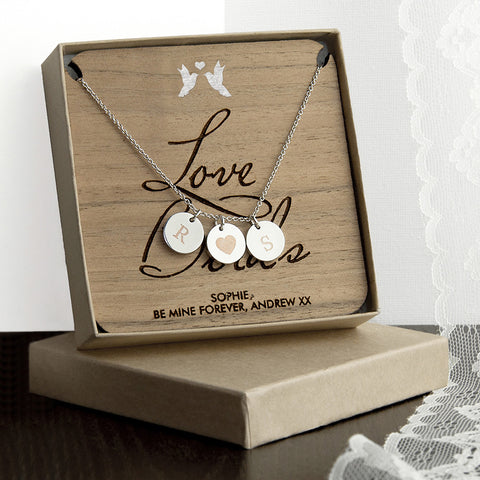 Personalised Love Birds Necklace & Keepsake