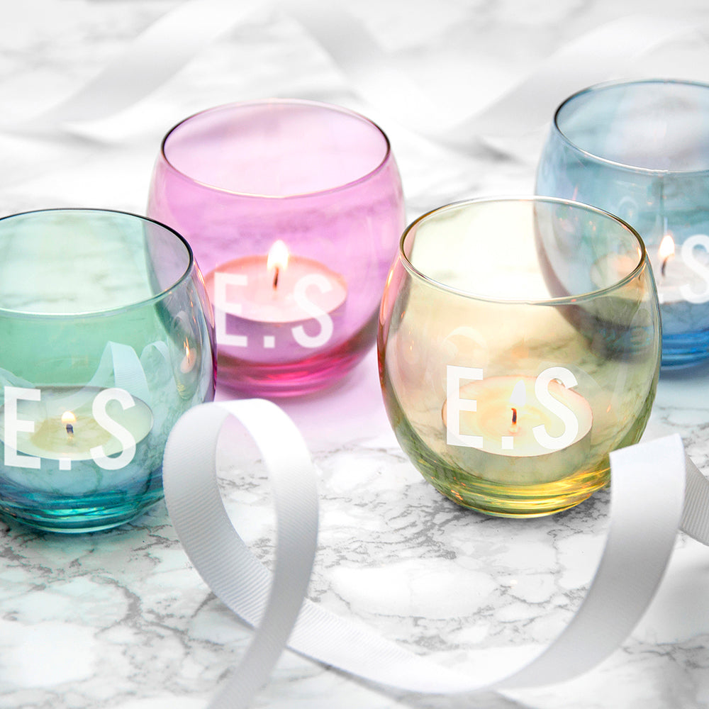 Personalised LSA Hand Painted Tea Light Holders, Set Of 4