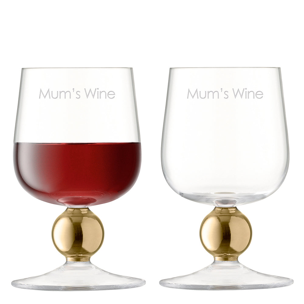 Personalised Set Of Two LSA Rose Gold or Gold version Wine Glasses