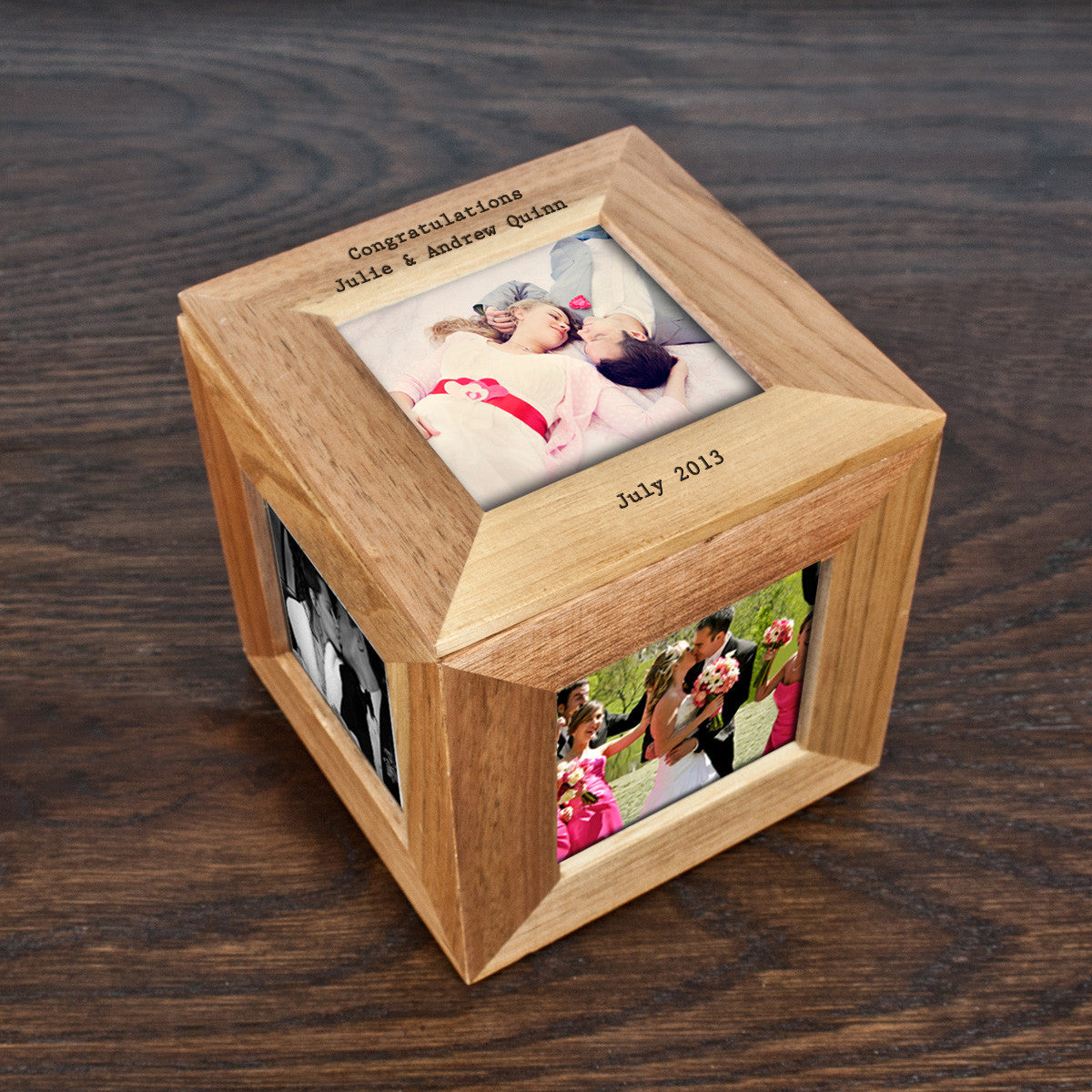 Personalised Oak Photo Cube Keepsake Box - Personalised Gift Solutions - 1