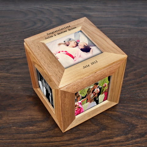 Personalised Memory Box - Small Wooden Photo Cube