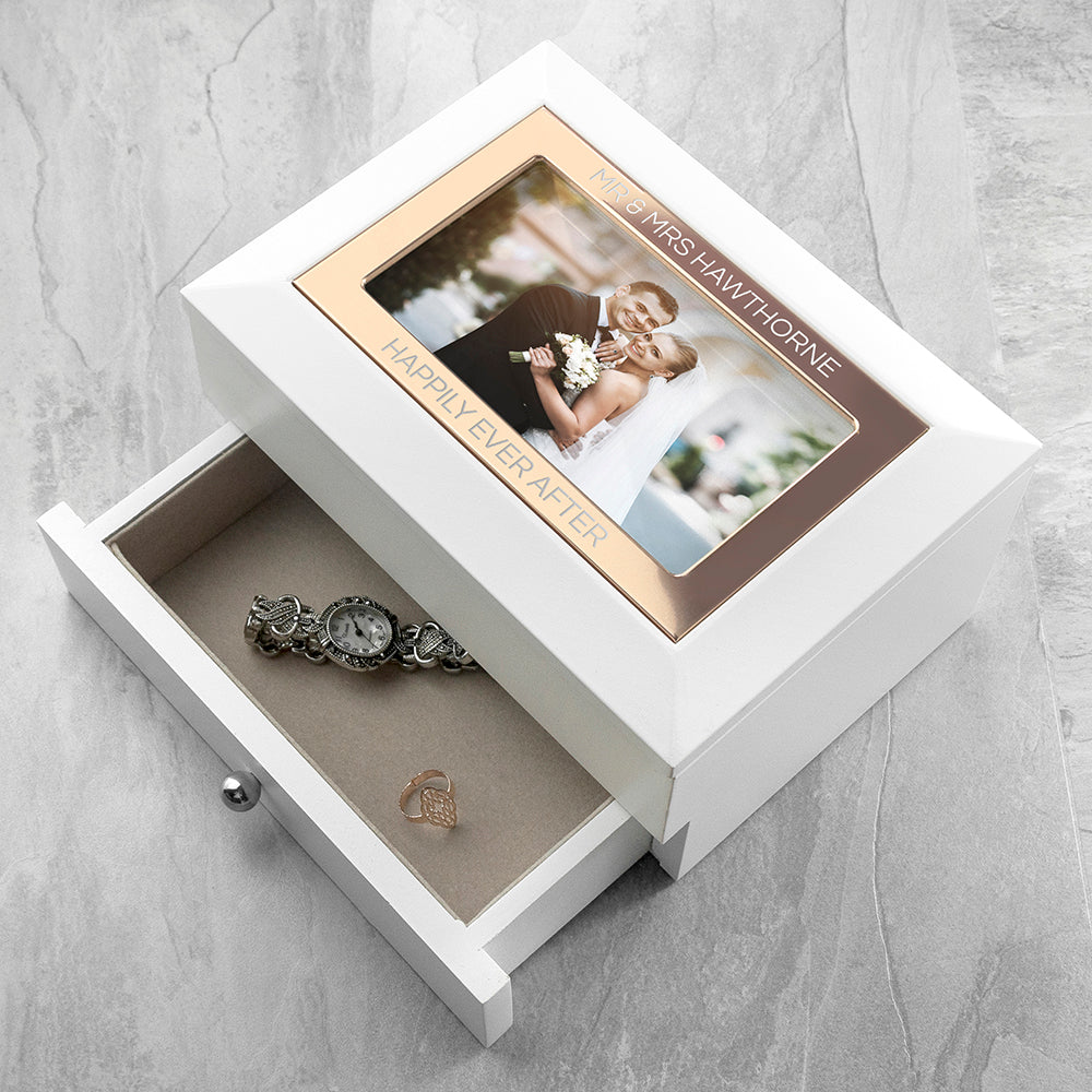 Personalised White and Rose Gold Photo Jewellery box