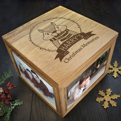 Personalised Memory Box - Large Wooden - Christmas Woodland Chipmunk