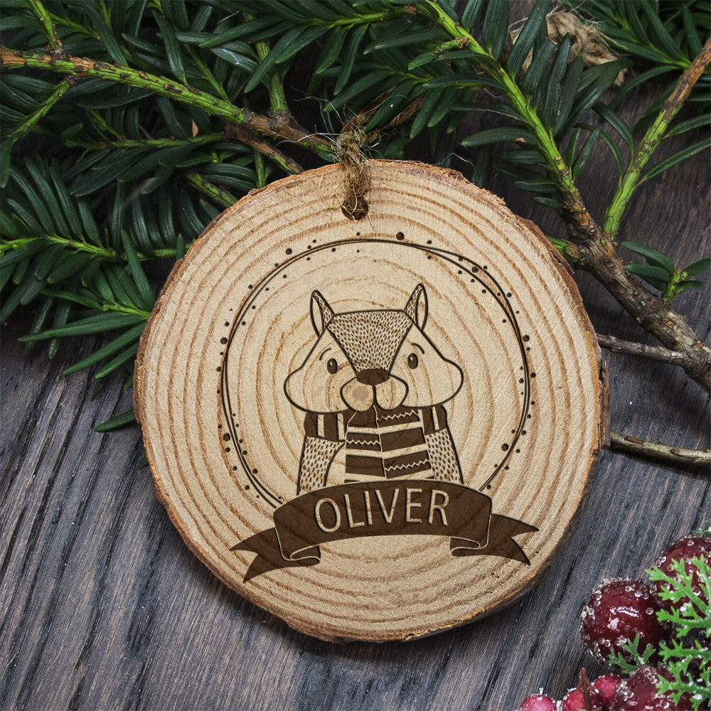 Personalised Christmas Hanging Decoration - Woodland Chipmunk - Personalised Gift Solutions - 1