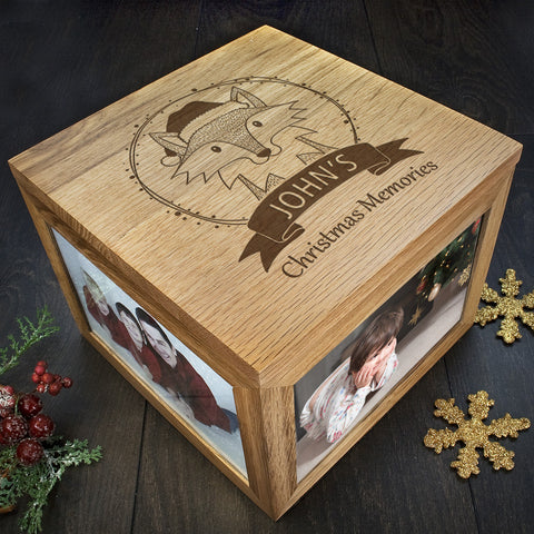 Personalised Memory Box - Large Wooden - Christmas Woodland Fox