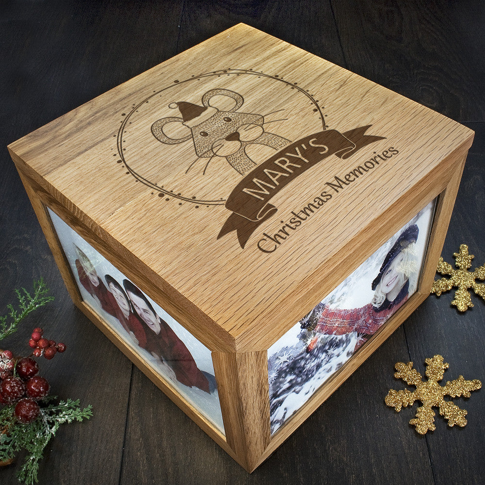 Personalised Large Oak Photo Keepsake Box - Christmas Woodland Mouse - Personalised Gift Solutions - 2