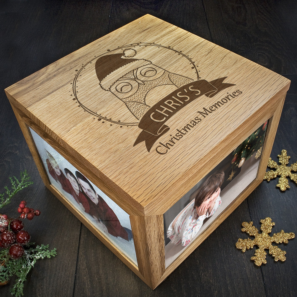 Personalised Large Oak Photo Keepsake Box - Christmas Woodland Owl - Personalised Gift Solutions - 1