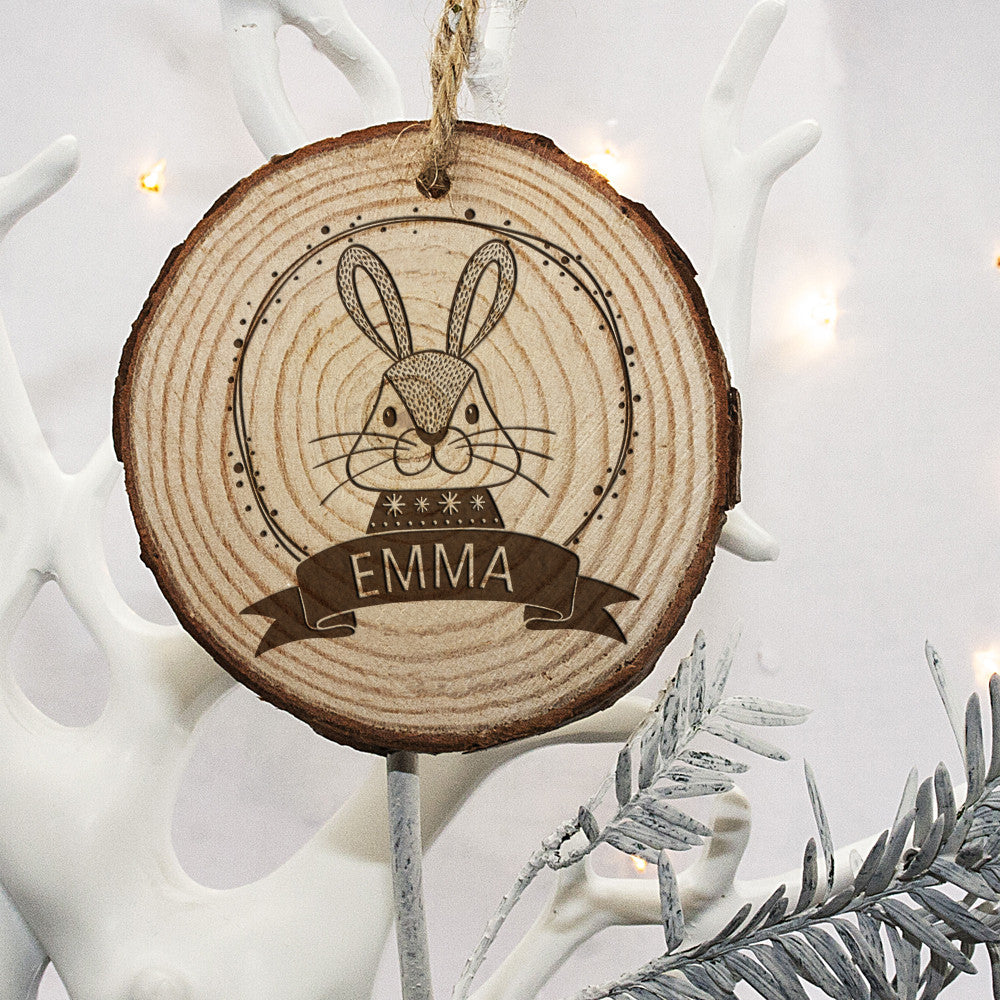 Personalised Christmas Hanging Decoration - Woodland Rabbit - Personalised Gift Solutions - 2