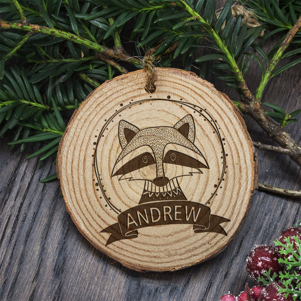 Personalised Christmas Hanging Decoration - Woodland Raccoon - Personalised Gift Solutions - 1