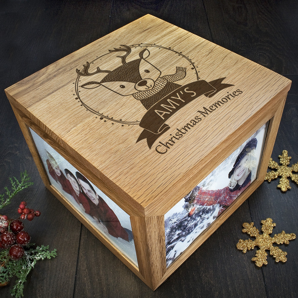 Personalised Large Oak Photo Keepsake Box - Christmas Woodland Reindeer - Personalised Gift Solutions - 2