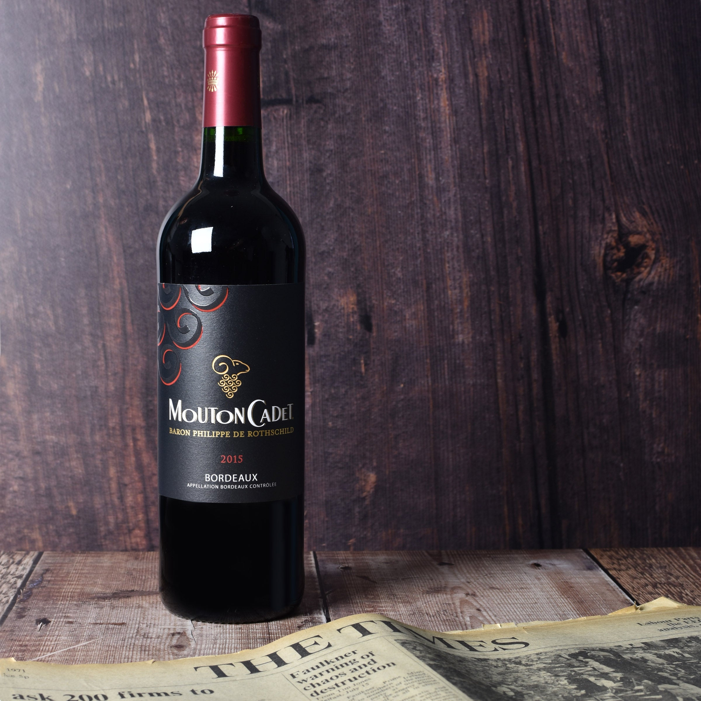 Mouton Cadet Vintage Bordeaux wine with Original Newspaper in giftbox