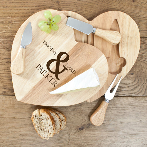 Personalised Romantic Heart Cheese Set - Personalised Gift Solutions - 1