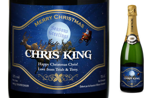 Personalised Christmas Champagne with Santa Label - Personalised Gift Solutions - 1