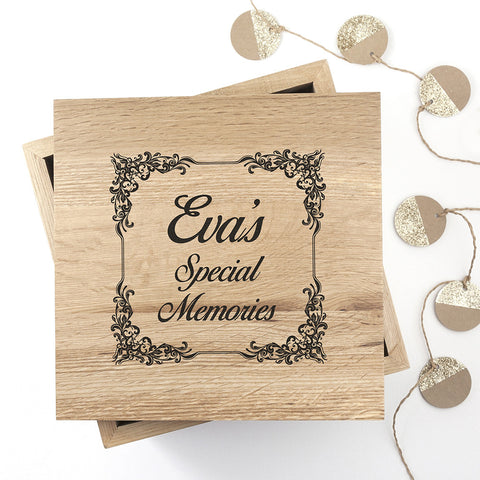 Personalised Memory Box - Large Wooden - Vintage