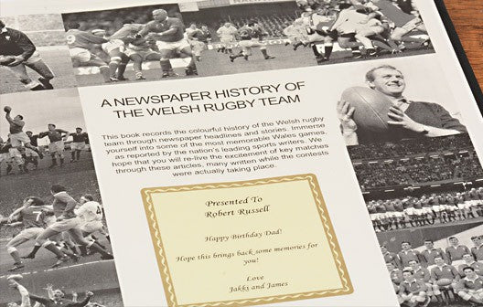 Personalised History of Welsh Rugby Newspaper Book - Personalised Gift Solutions - 2