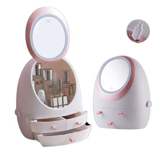 Cosmetic Organizer with LED HD Mirror