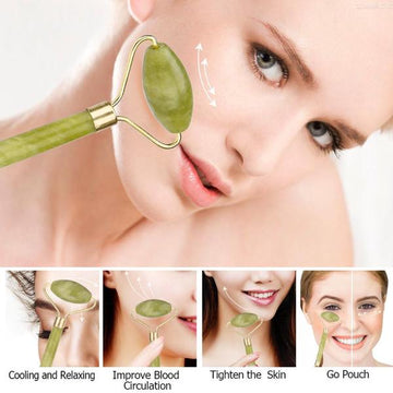 Authentic Natural Green Jade Stone Roller and Anti-Aging Gua Sha Set, Beauty Massager Tool for Deep Massages and Skin Rejuvenation