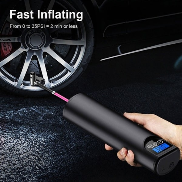 Portable Air Compressor Mini Tire Inflator, Hand Held Pump for Car Bike 150PSI 2000mAh Rechargeable Li-ion Battery, Digital LCD