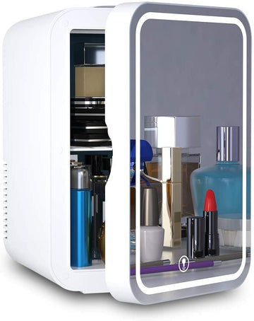 Mini Fridge 6 Liter AC/DC Portable Beauty Fridge Thermoelectric Cooler and Warmer for Skincare, Bedroom and Travel
