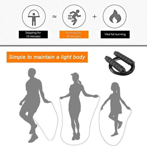 Skipping Rope, Jump Rope Tangle - with Ball Bearings Rapid Speed, Adjustable Jumping Rope Memory Foam Handles for Aerobic Exercise Like Speed Training