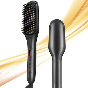 Hair Straightener Brush, Hair Straightening Brush Ceramic, Anti-Scald, LED Indicator,110V-240V