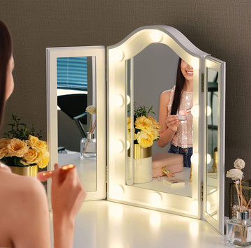 Vanity Lighted Tri-fold Makeup Mirror with 10 Dimmable LED Blubs, Touch Control Lights Tabletop Hollywood Cosmetic Mirror (White)