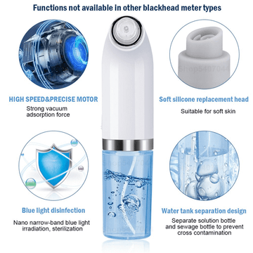 Blackhead Remover, Pore Vacuum Electric Blackhead Vacuum Remover with 6 Suction Probes