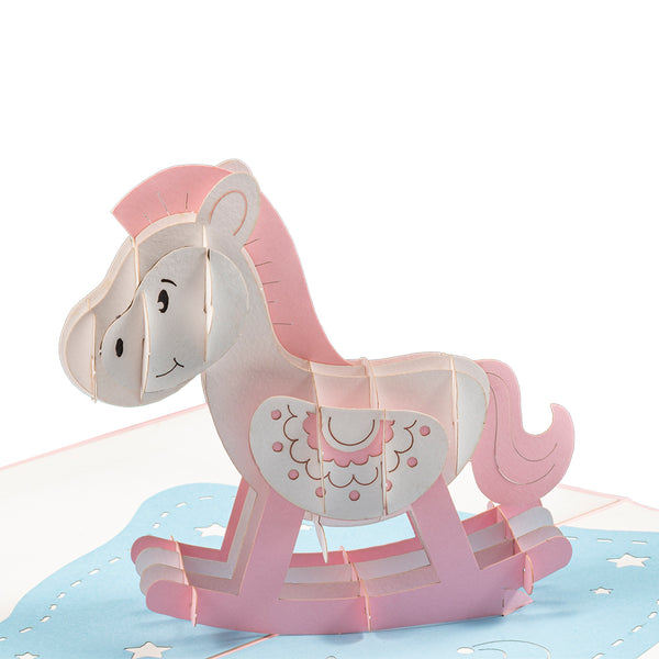 Rose Rocking Horse Pop Up Card
