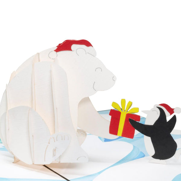 Christmas Polar Bear and Penguin Pop Up Card