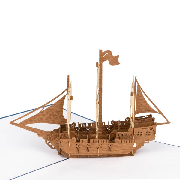 Blue Sailing Ship Pop Up Card