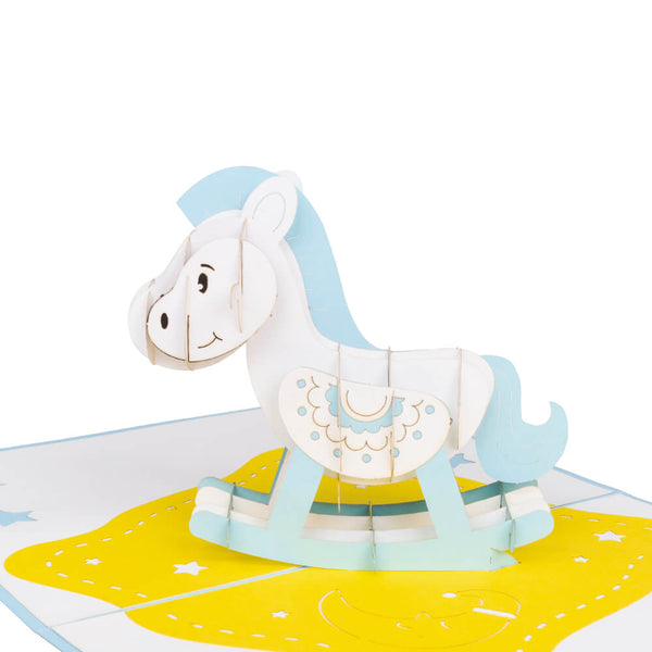 Blue Rocking Horse Pop Up Card