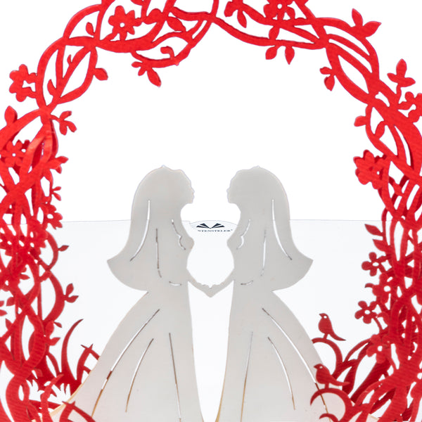 ♀♀ Wedding Couple Pop Up Card