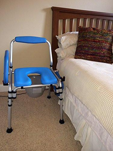 Danube 3-in-1 Padded Commode/Shower Chair. Institutional Quality, Pivoting Armrests for Easy Transfers, Folds for Easy Storage.